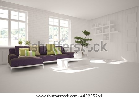 white interior design of living room with furniture. 3D illustration - stock photo