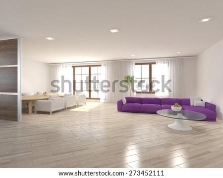 white interior design of modern house-3d rendering - stock photo