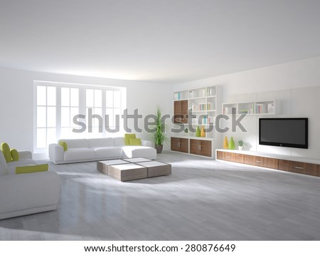 White Interior Design Of Modern House 3d Rendering