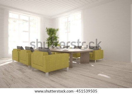 white interior design. Scandinavian style. 3D illustration