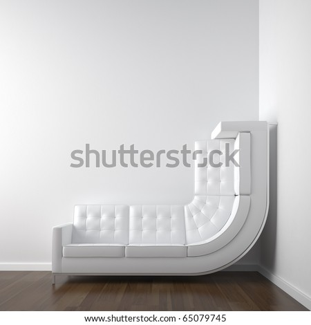 white interior design with a bended couch in a corner room climbing up the wall with plenty copy space.