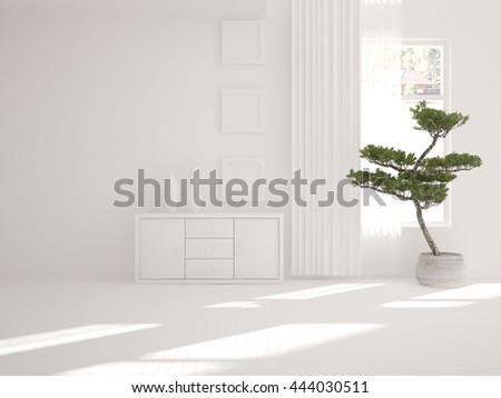 white interior design with furniture. Scandinavian interior. 3D illustration - stock photo