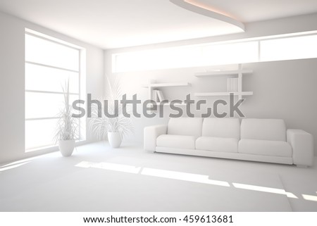 white interior design with modern sofa. Scandinavian style. 3D illustration
