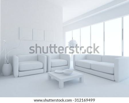 white interior of a business room. 3d rendering
