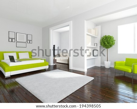 white interior of a flat - stock photo