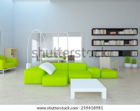 White interior of a futuristic house. 3D rendering - stock photo