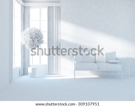 white interior of a living room. 3d illustration - stock photo