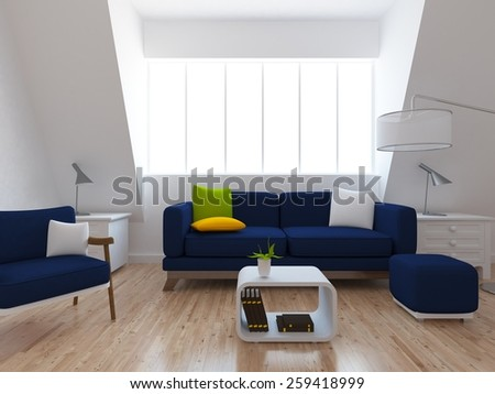 white interior of a living room with blue furniture - stock photo