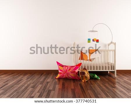 white interior of a nursery. 3d concept - stock photo