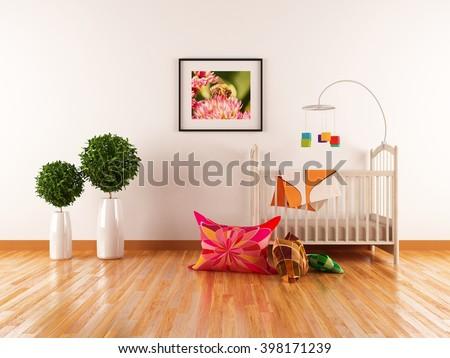 White interior of a nursery. 3d illustration  - stock photo
