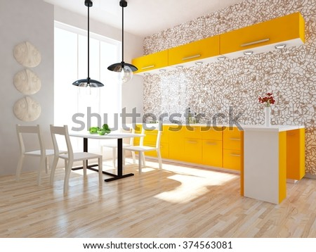 white interior of a orange kitchen. 3d concept - stock photo