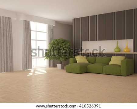 white interior of living room -3D illustration