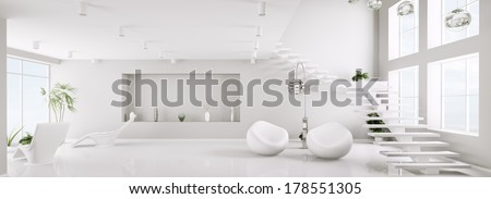 White interior of modern apartment living room panorama 3d render - stock photo