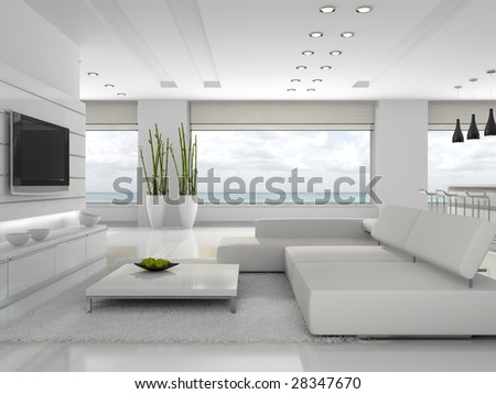 White interior of the stylish apartment 3D rendering - stock photo