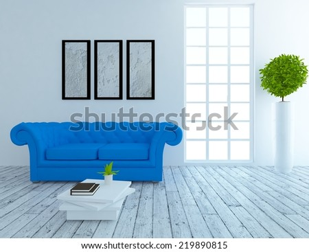 white interior with a blue sofa and frames on the wall - stock photo