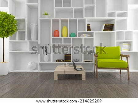 white interior with a lot of shelves and with green armchair - stock photo
