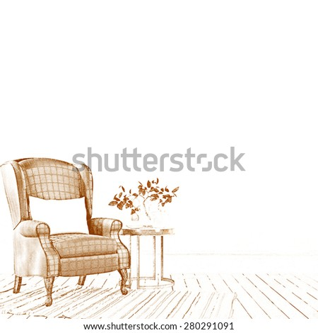 White interior with armchair and a wooden table - stock photo