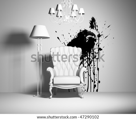 white interior with armchair and black blot on the wall - stock photo
