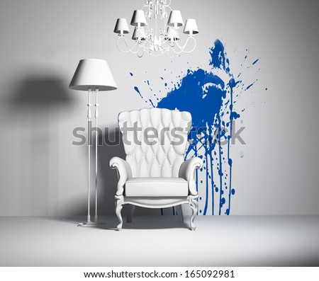 white interior with armchair and blue blot on the wall - stock photo