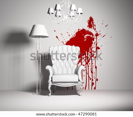 white interior with armchair and red blot on the wall - stock photo