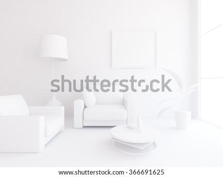 white interior with armchairs. 3d illustration - stock photo