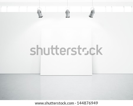 white interior with blank poster - stock photo