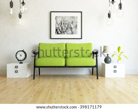 white interior with canape. 3d illustration