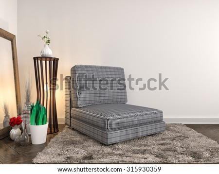 white interior with chair and lamp. 3d illustration