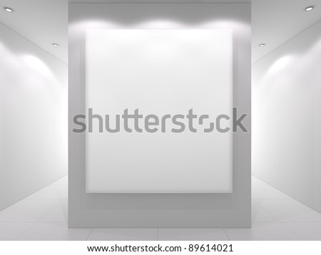 White interior with empty frame on a wall. - stock photo