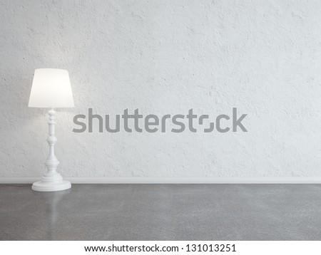 white interior with floor lamp - stock photo