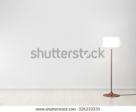 white interior with floor lamp - stock photo