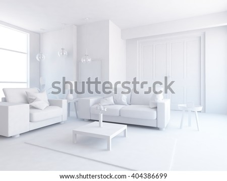 White interior with furniture. 3d illustration