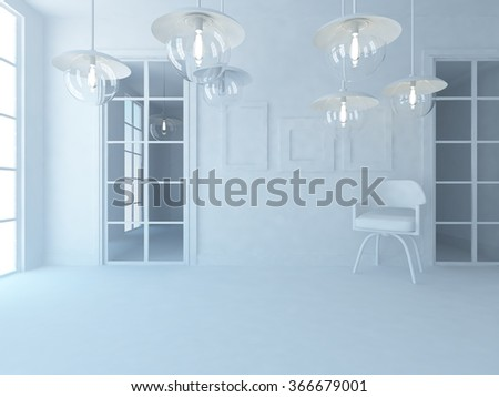 white interior with lamps.3d concept  - stock photo
