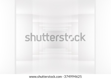 White interior with long corridor in modern space 3D Render