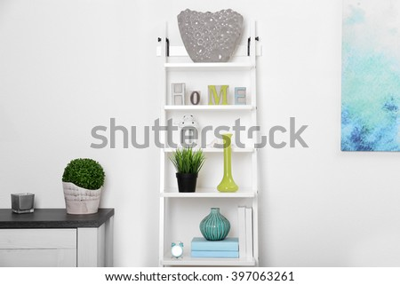 White interior with modern furniture, close up - stock photo