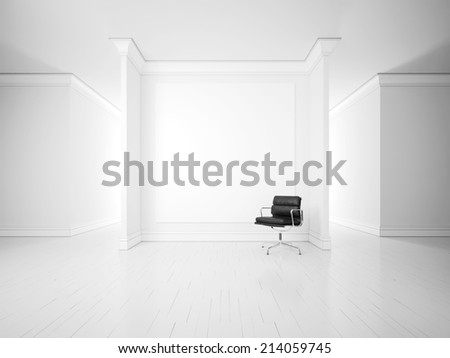 White interior with office armchair and blank poster on a wall - stock photo