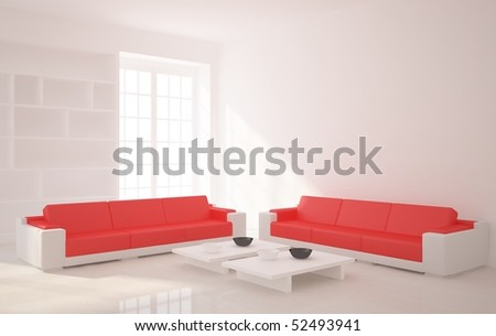 white interior with red furniture