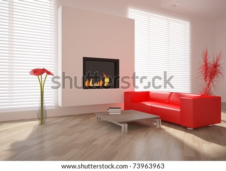 white interior with red furniture - stock photo