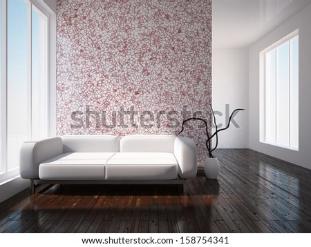 white interior with red wall  - stock photo