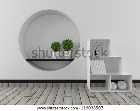 white interior with shelves