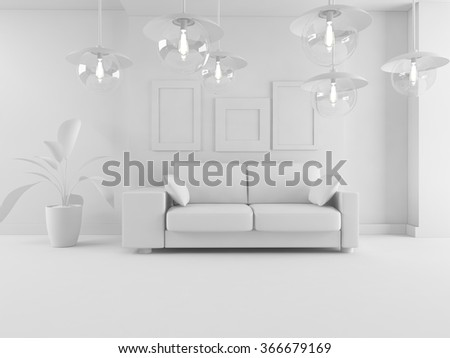 white interior with sofa.3d concept - stock photo