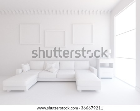 white interior with sofa.3d illustration - stock photo