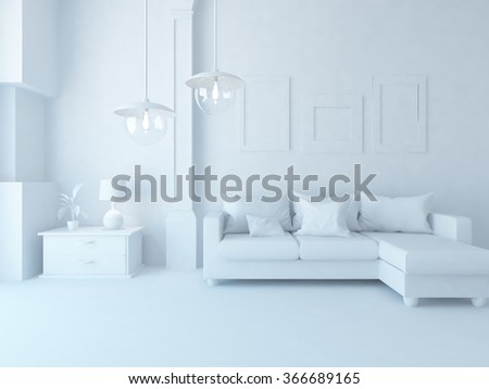 white interior with sofa. 3d illustration - stock photo