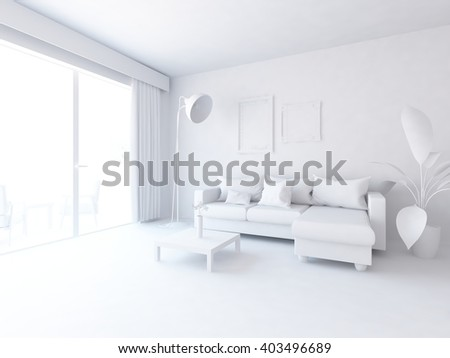 White interior with sofa. 3d illustration