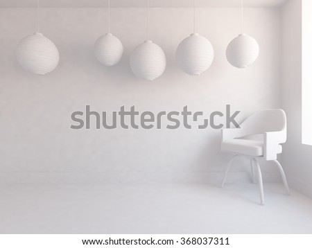 White interior with spheres.3d illustration - stock photo