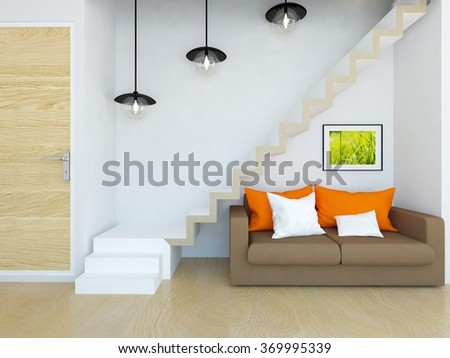 white interior with stairs. 3d illustration - stock photo