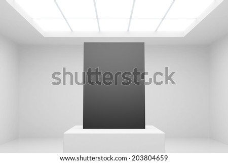 white interior with stand and blank paper - stock photo