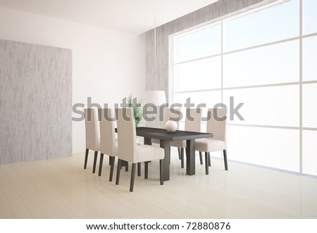 white interior with table and chairs