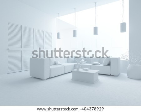 White interior with wardrobe.3d illustration
