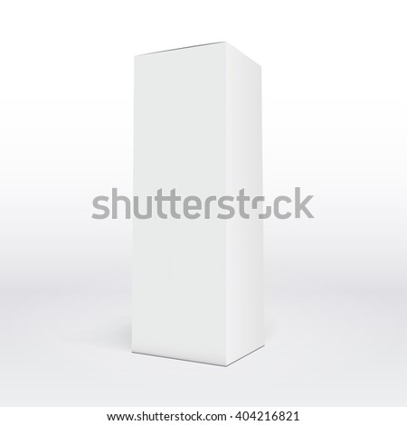 white isolated box, Package white box long design, 3D illustration, perspective box